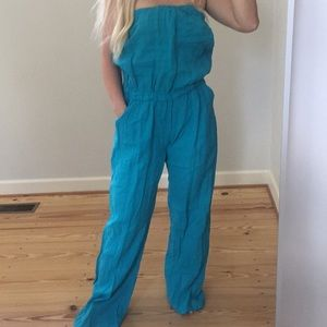 Teal halter jumper with pockets